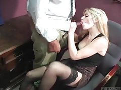 She kicks his balls and sucks another dick in office tubes