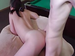 Hairy pussy fucked on a pool table tubes