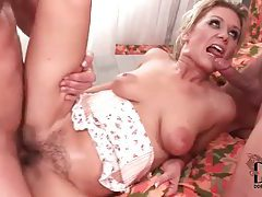 Cumshot on her hairy pussy and her big tits tubes