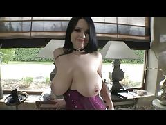 Big titty cocksucking tease in corset and stockings tubes