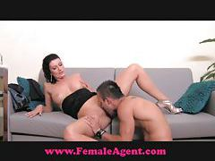 FemaleAgent Shy hunk is devoured tubes
