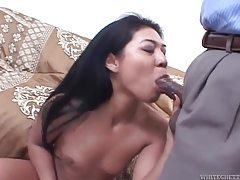 Asian whore gets in his car and sucks dick tubes