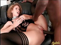 Sex with a curly hair beauty in lingerie tubes