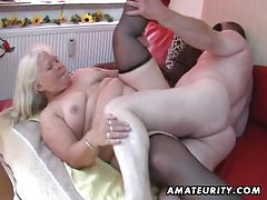 Chubby amateur wife sucks and fucks on her bed tubes