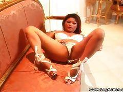 Asian teases her super hot high heels tubes