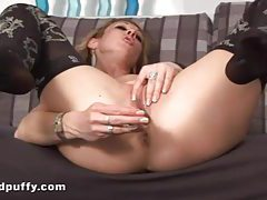 Eager blonde in lingerie fucks pussy with toy tubes