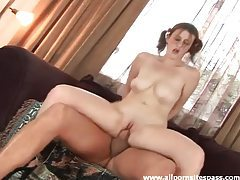 In pigtails this girl gets it in the ass tubes