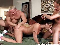 Guys give tattooed girl a hot fuck with two cocks tubes