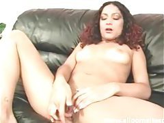 Sweetheart with curly hair masturbates tubes