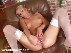 He pushes the toy into her girl pussy tubes