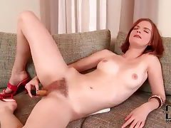 Teen slides dildo into her hairy pussy tubes