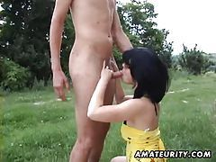 Hot amateur girlfriend sucks and fucks outdoor with cumshot tubes