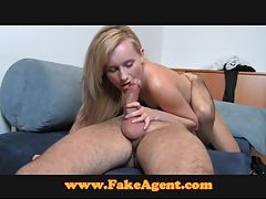FakeAgent Foxy amateur takes anal creampie in casting tubes
