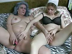 Granny and her caretaker have lesbian sex tubes