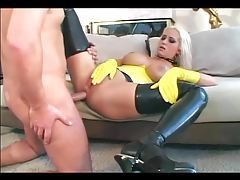 Anal Sex in latex gloves stilettoes and stockings tubes
