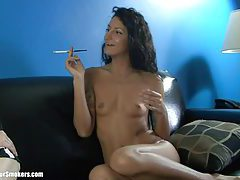 Leggy Latina milf with tiny tits having a nice smoke tubes