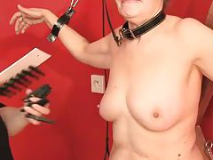 Granny punished in the dungeon by lesdom tubes