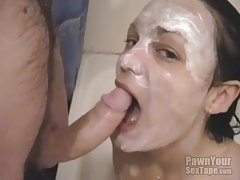 Cocksucker in a bathtub with boyfriend tubes