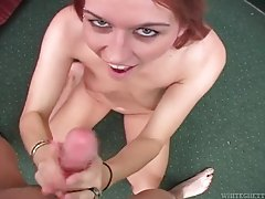 Redhead talks naughty as she jacks dick in POV tubes