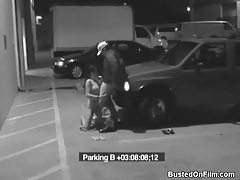 Security guard blown by slut in parking lot tubes