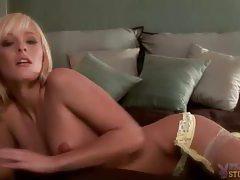 Seductive blonde Felicia Taylor lingerie poses tubes