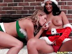 Lesbian milfs in their Christmas lingerie tubes