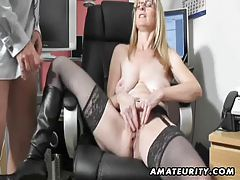 Busty amateur Milf sucks and fucks with cum on boots tubes