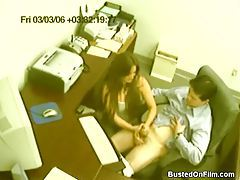 Lucky man gets a handjob in the office tubes