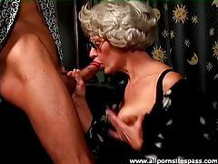 Gray hair granny on her knees sucking cock tubes