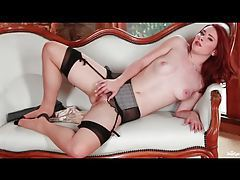 Seamed stockings on this milky white redheaded babe tube