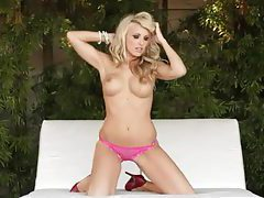Watch blue eyed blonde strip from pink undies tubes