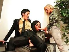 Fully clothed strapon sex with three lesbians tubes