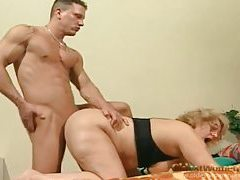 That snatch is wet and hairy as he fucks it tubes