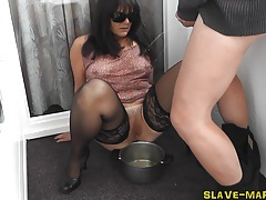 Slutwife gets pissed on on balcony tubes