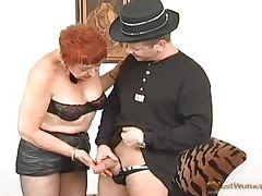 Fingering old hairy pussy on redhead tubes