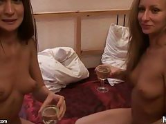 Two cuties at a party lick lusty pussy tubes