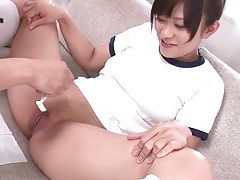 He shaves the hair from her Japanese vagina tubes