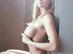 Fit body blonde with big tits teases solo tubes