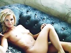 Satin bra and panties on blonde Hunter McCloud tubes