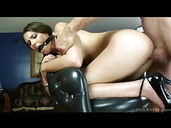 Ball gag on a bent over whore taking it from behind tubes