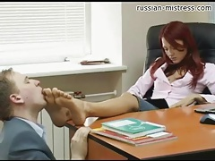 His secretary makes him suck toes in office tubes