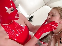 Latex mistress makes her eat wet pussy tubes