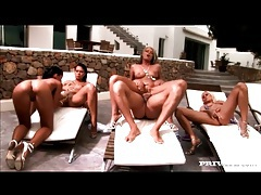 Four tanned beauties share dick and eat pussy tubes