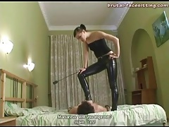 Skintight latex pants on his mistress tubes