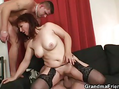 Card game ends with mature threesome tubes