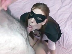 Sexy superhero sucks and sits on cock tubes