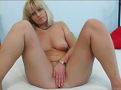 Cute milf sucks slowly on his big cock tubes