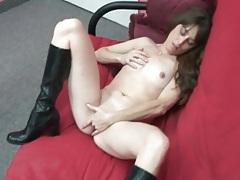 Skinny brunette striptease with erotic fingering tubes