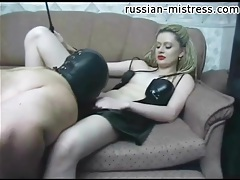 Mistress in red lipstick gets pussy and ass worshiped tubes