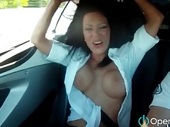 Topless chicks driving fast cars tubes